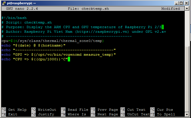 Tạo file kiểm tra nhiệt độ CPU và GPU Raspberry Pi